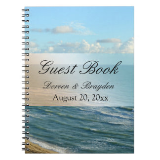 Seascape Blue and Brown Ocean Beach Wedding Spiral Notebooks