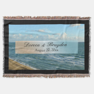 Seascape Blue and Brown Ocean Beach Wedding Throw