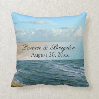 Seascape Blue and Brown Ocean Beach Wedding Throw Pillow