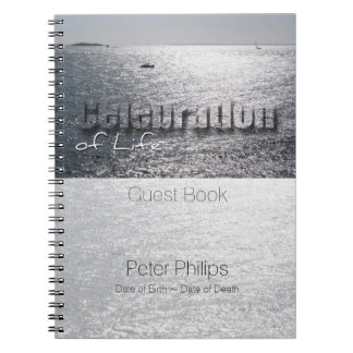 Seascape Celebration of Life Custom Guest Book Spiral Notebooks