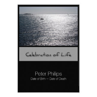 Seascape Framed Celebration of Life Invitation