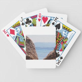 Seascape of Tavolara island on blurred rocks foreg Poker Deck