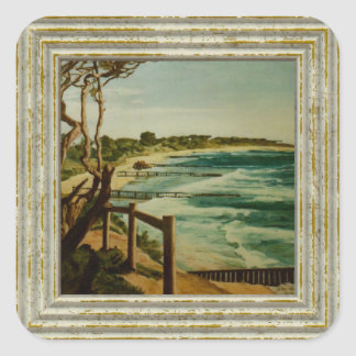 Seascape Painting Square Sticker