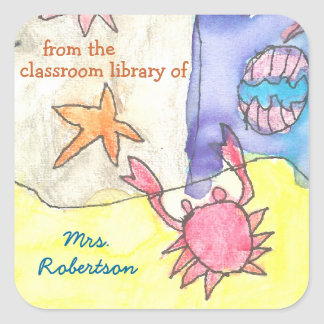 Seascape personalized teacher gift bookplate square sticker