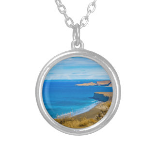 Seascape View from Punta del Marquez Viewpoint Silver Plated Necklace