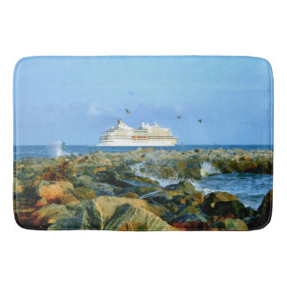 Seascape with Cruise Ship Bath Mat