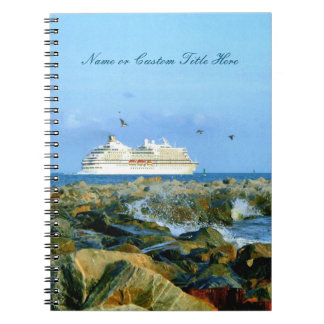 Seascape with Cruise Ship Custom Spiral Notebook