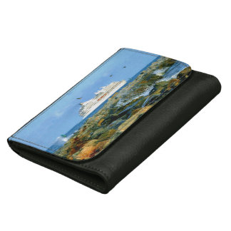 Seascape with Cruise Ship Leather Wallet For Women