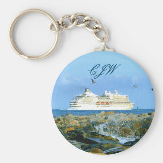 Seascape with Cruise Ship Monogrammed Basic Round Button Keychain