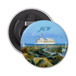 Seascape with Cruise Ship Monogrammed Bottle Opener