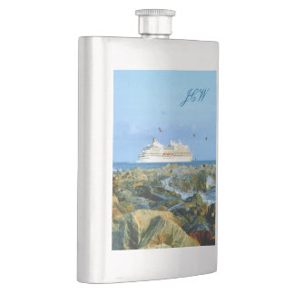 Seascape with Cruise Ship Monogrammed Flask