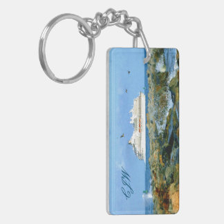 Seascape with Cruise Ship Monogrammed Keychain