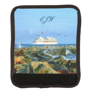 Seascape with Cruise Ship Monogrammed Luggage Handle Wrap