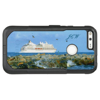 Seascape with Cruise Ship Monogrammed OtterBox Commuter Google Pixel XL Case