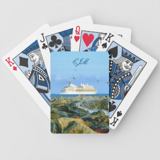 Seascape with Cruise Ship Monogrammed Poker Deck