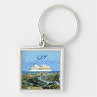 Seascape with Cruise Ship Monogrammed Silver-Colored Square Keychain
