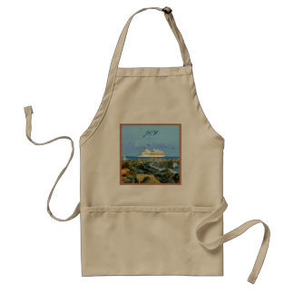 Seascape with Cruise Ship Monogrammed Standard Apron