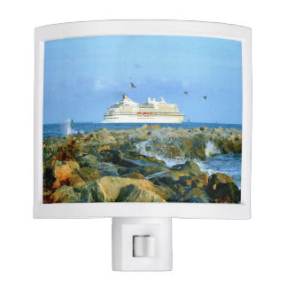 Seascape with Cruise Ship Nite Light