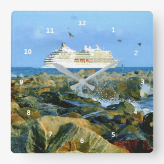 Seascape with Cruise Ship Square Wall Clock
