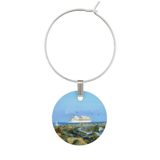 Seascape with Cruise Ship Wine Charm