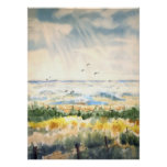 Seascape with fence poster