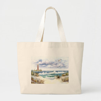 * Seascape with Lighthouse * Large Tote Bag