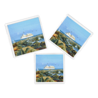 Seascape with Luxury Cruise Ship Acrylic Tray