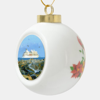 Seascape with Luxury Cruise Ship Ceramic Ball Ornament