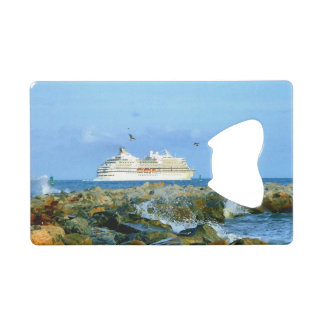 Seascape with Luxury Cruise Ship Credit Card Bottle Opener
