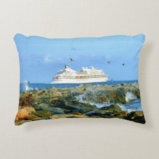 Seascape with Luxury Cruise Ship Decorative Pillow