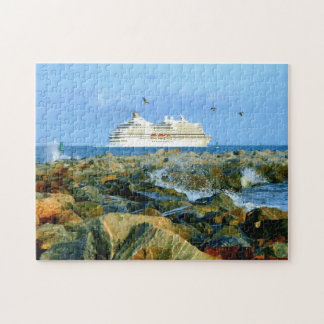 Seascape with Luxury Cruise Ship Jigsaw Puzzle