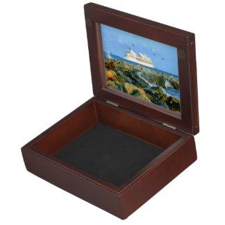 Seascape with Luxury Cruise Ship Keepsake Boxes
