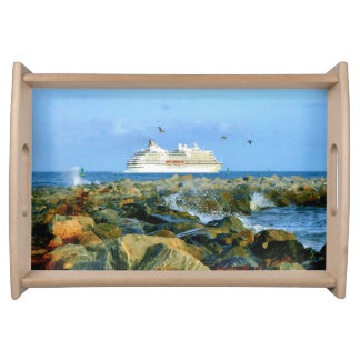 Seascape with Luxury Cruise Ship Serving Tray