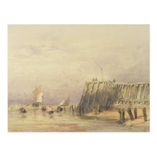 Seascape with Sailing Barges and Figures Wading Of Postcard