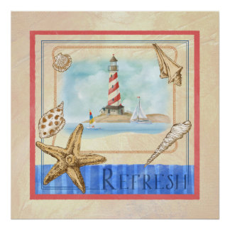 Seascape  with Shells Watercolor Art, Lighthouse Poster