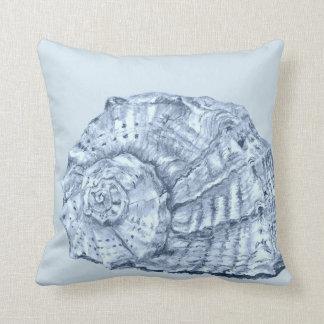 Seashell 3 on Light Blue Throw Pillow