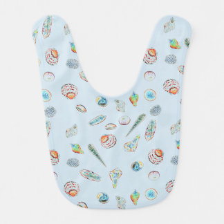 Seashell adorned baby bib