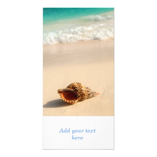 Seashell and ocean wave photo card