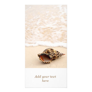 Seashell and ocean wave photo greeting card