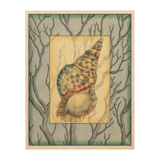 Seashell and Tree Branches Wood Wall Art