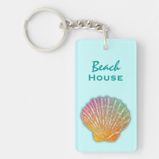 Seashell Art Blue Beach House Keys Keychain