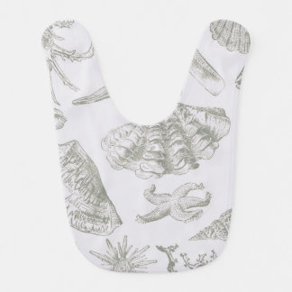 Seashell Art Pattern Vintage Print Shore Bib