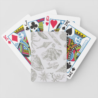 Seashell Art Pattern Vintage Print Shore Bicycle Playing Cards