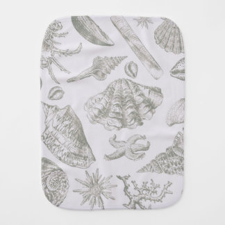 Seashell Art Pattern Vintage Print Shore Burp Cloth