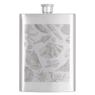 Seashell Art Pattern Vintage Print Shore Hip Flask