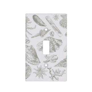 Seashell Art Pattern Vintage Print Shore Light Switch Cover