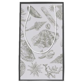 Seashell Art Pattern Vintage Print Shore Small Gift Bag