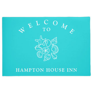 Seashell Art Turquoise Name Template Welcome Mat