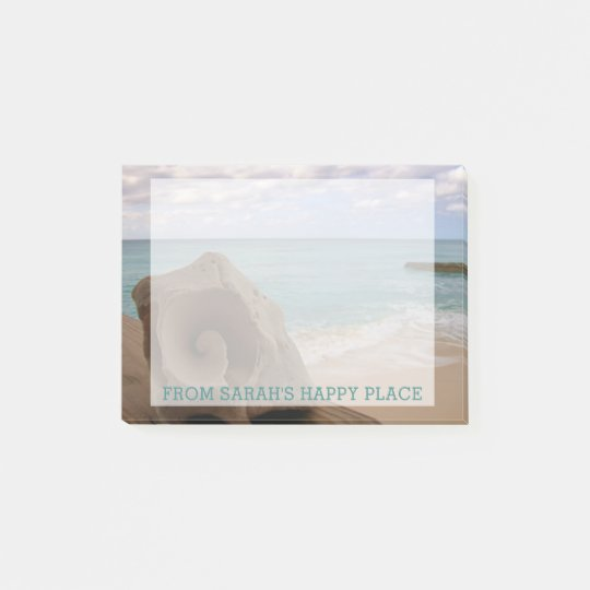 Seashell Beach | Personalized Name Teal Post-it® Notes