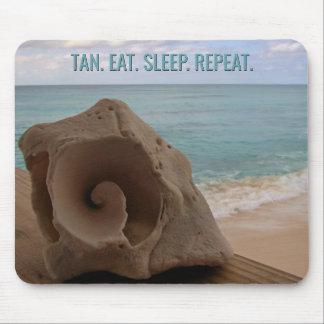 Seashell Beach Vacation Tropical   Tan Eat Sleep Mouse Pad